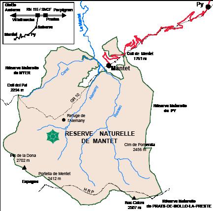 Légende : La RNN de Mantet est située dans un ensemble plus important d'espaces préservés : Parc Naturel Régional des Pyrénées Catalanes, Canigo Grand Site, Site classé du Massif du Canigou, Parc Natural de les Capçaleres del Ter i del Freser.